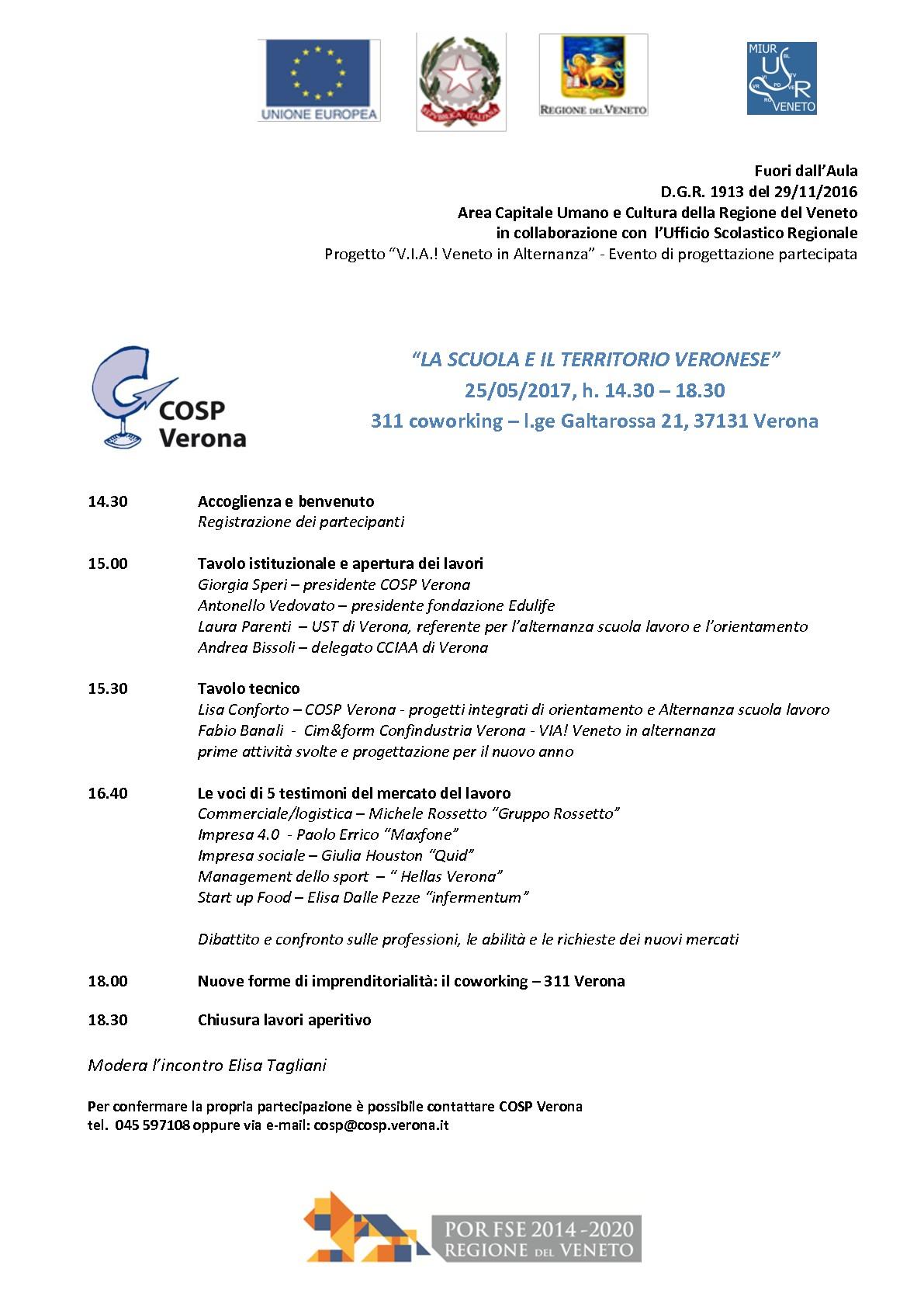 """25 maggio 2017 """"La scuola e il territorio Veronese"""" evento COSP"""