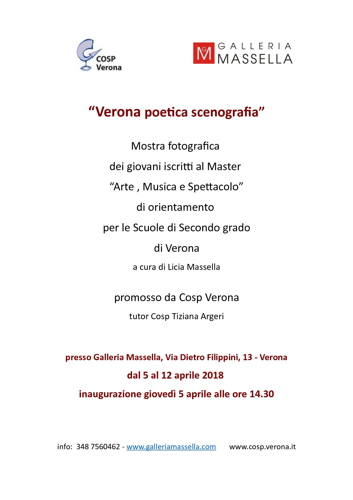 """5 aprile ore 14.30 mostra """"Verona poetica scenografia"""" del Master Cosp in """"Arte Musica e Spettacolo"""""""